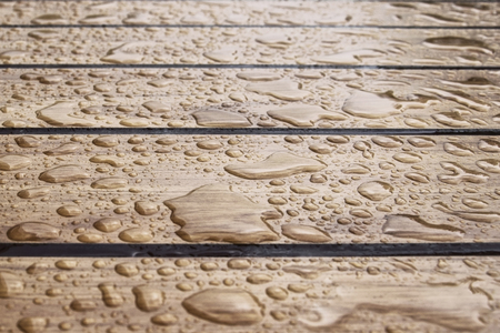 The thaw on a wooden table after a rain is a lot of
