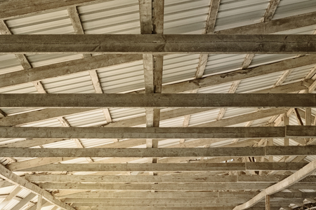 Dome made of tin gray sheets and wooden beams on a Sunny day Reklamní fotografie