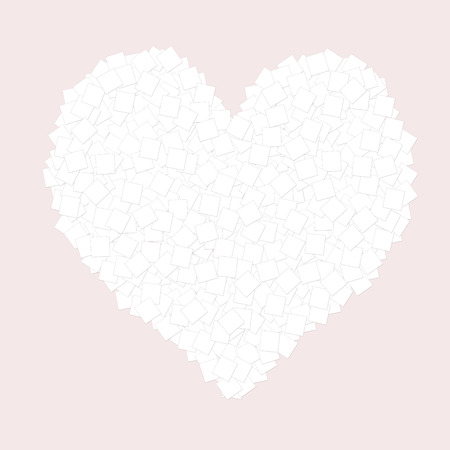Heart of many pieces of paper on a pale pink background on Valentines day