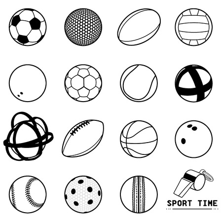 Illustration of black and white contour balls icons of different sports and whistle SPORT TIME