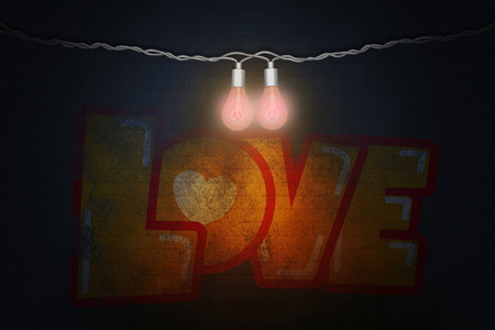 Illustration of Valentines day two twisted wires with two incandescent lamps with a filament in the form of hearts and graffiti love on a brick wall background