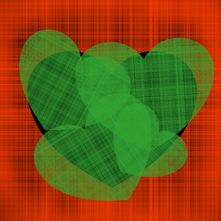 Contrast illustration for Valentine's day many green hearts of different sizes on a black heart on a background of red intertwined threads Stock Illustration - 117097171