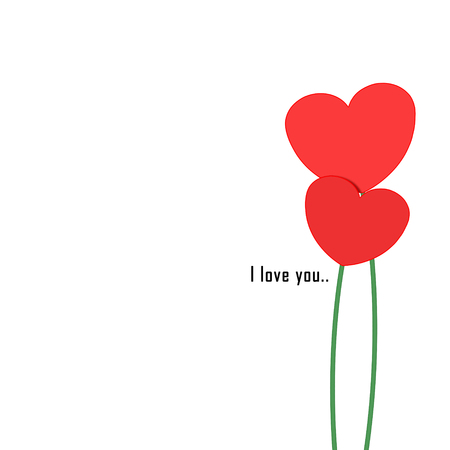Illustration of Valentine's day two red flower hearts on a white background and the words I love you