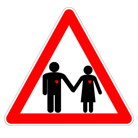 Illustration of the triangular sign Â«Attention, lover!» on Valentines day, the black  figures of a man and a woman holding hands with red hearts Фото со стока
