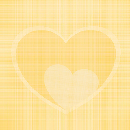 Illustration of Valentines day small heart resting inside a large heart of twisted threads in yellow light colors