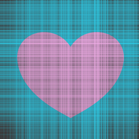 Contrast illustration with texture of intertwined threads with pink heart on the background of turquoise threads and brown background for Valentines day