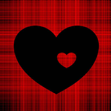 Contrast illustration of Valentines day black heart on the background of red intertwined threads inside a small red heart of threads