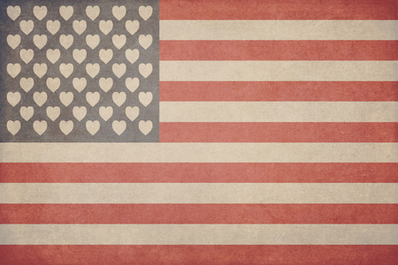 Illustration for Valentines day in the form of an American flag with hearts instead of stars with superimposed texture in the style of grunge Фото со стока
