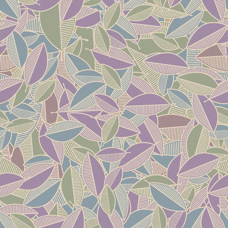 Illustration of seamless pattern of abstract leaves of pale tones