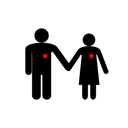 Illustration for Valentines day the figures are black silhouettes icons of a man and a woman holding hands with red hearts