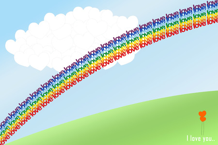 A simple illustration on Valentines day with the earth sky clouds hearts rainbow of words love and two flowers hearts
