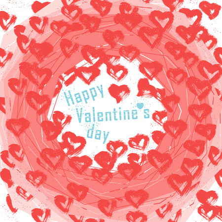 Illustration of Valentines day geometric shapes and lots of hearts and dots