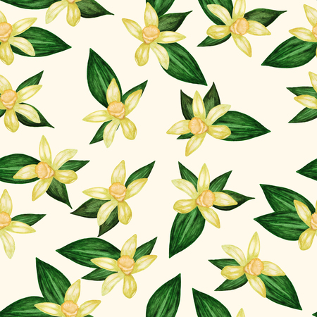Seamless watercolor background illustration with flowers and vanilla leaves on beige background Фото со стока