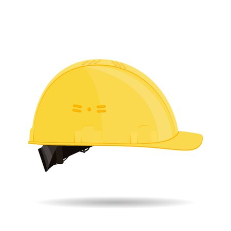 Yellow plastic protective construction helmet isolated on white background. Vector illustration. Ilustrace