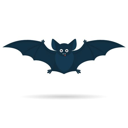 Been a Halloween cute bat with a drop of blood isolated on a white background. Vector illustration.