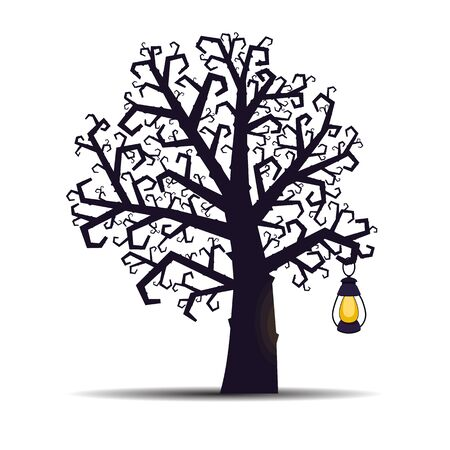 Gnarled dead Halloween tree with a lantern for the Halloween holiday. Vector illustration. Ilustrace