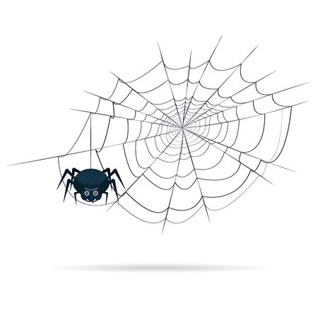 Scary many-eyed spider with a drop of blood on the web on Halloween. Vector illustration.