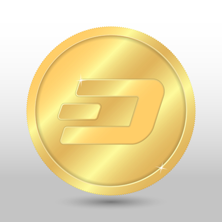 cash: Gold vector dash coin on a gray background. Virtual currency