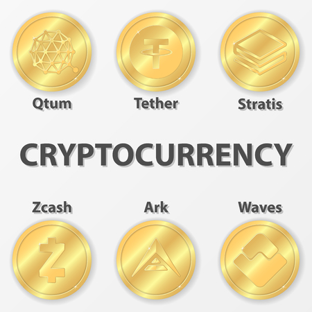 Set of 6 cryptocurrency icon. Golden zcash, ark and etc