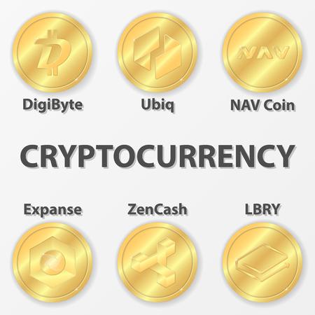 nav: Set of 6 cryptocurrency icon. Golden zencash, digibyte and etc