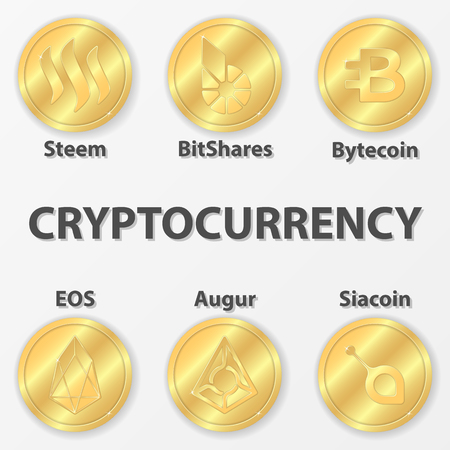 Set of 6 cryptocurrency icon. Golden steem, bitshares and etc