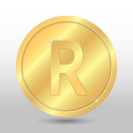 Realistic gold coin with rand sign. Vector coin on gray background Illusztráció