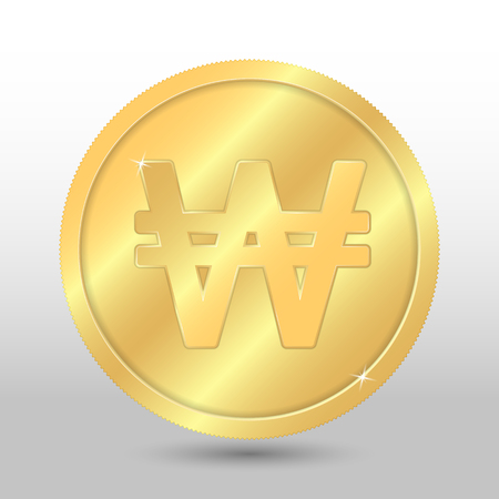 Realistic gold coin with south korean won sign. Vector coin on gray background Illustration
