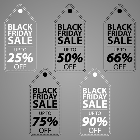 Set of black and white wired tags for black ftiday sale. Vector wired labels on gray background Иллюстрация