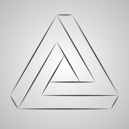 Sketch paradox triangle. Vector trigon. Penrose shape on gray background Çizim