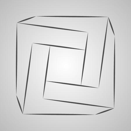 Sketch paradox square. Vector tetragon. Penrose shape on gray background