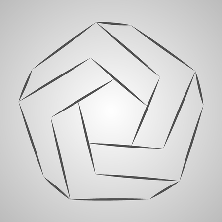 Sketch paradox polygon. Vector pentagon. Penrose shape on gray background