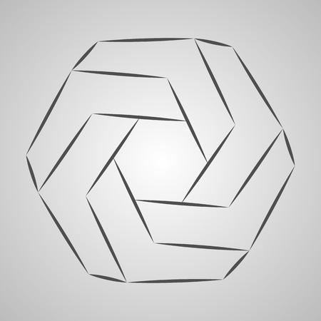 Sketch paradox polygon. Vector hexagon. Penrose shape on gray background