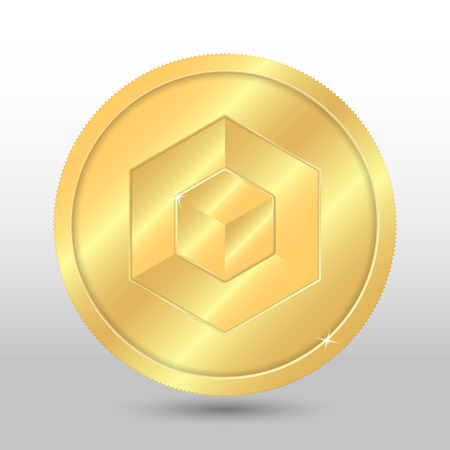 Gold russian miner coin. Vector crypto currency illustration on a gray background