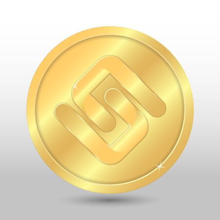 Gold pirl coin. Vector crypto currency illustration on a gray background Çizim