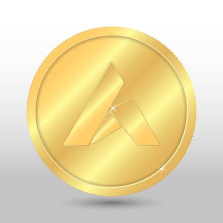 Gold ardor coin. Vector crypto currency illustration on a gray background