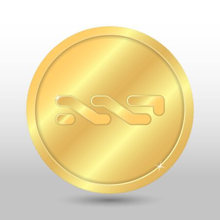 Gold nxt coin. Vector crypto currency illustration on a gray background Çizim