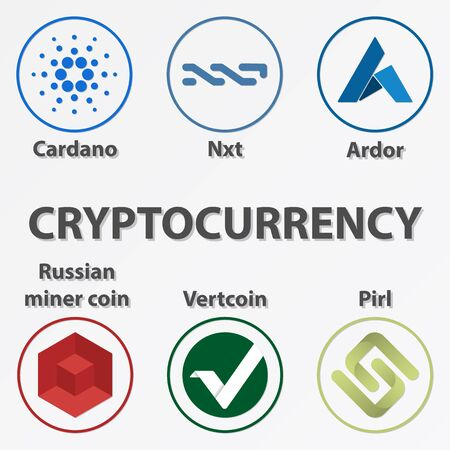 Set of 6 crypto currency icon.