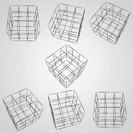 Wireframe 3D cube at different angles. Top view. Vector cube sketch on gray background