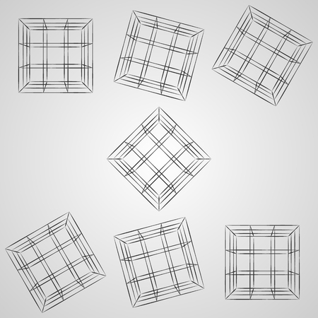 Wire frame 3D cube at different angles. Top view vector cube sketch on gray background. Çizim