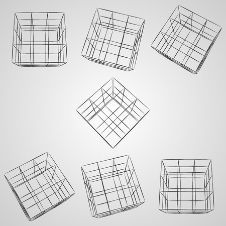 Wireframe 3D cube at different angles.
