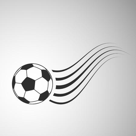 Flying soccer ball flat icon. Football vector illustration on gray background