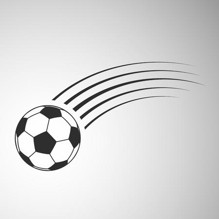 Flying football flat icon. Soccer ball vector illustration on gray background Çizim
