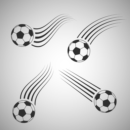 Flying flat icon. Football vector illustration on gray background.