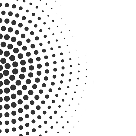 Abstract radial geometric halftone background. Vector dotted illustration Çizim