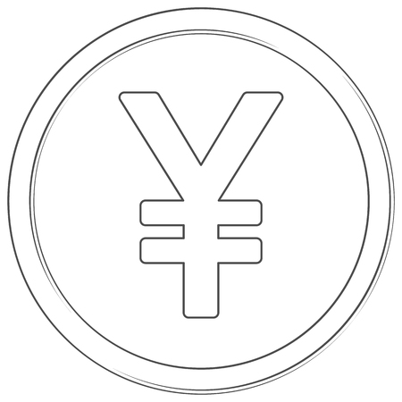 Vector yen sign. Lineart icon. Thin line illustration on white background