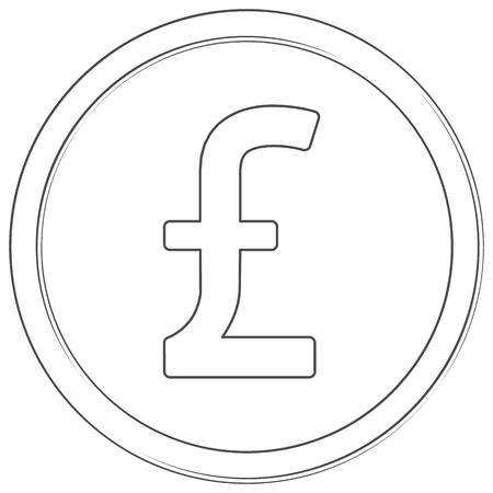 Vector pound sterling sign. Lineart icon. Thin line illustration on white background Çizim