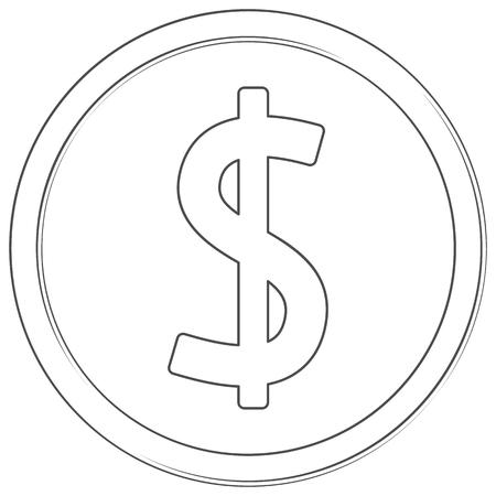 Vector dollar sign. Line art icon. Thin line illustration on white background.