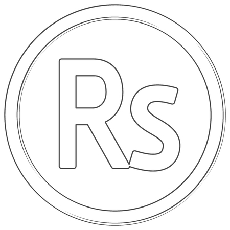 Vector rupee sign. Line art icon. Thin line illustration on white background.
