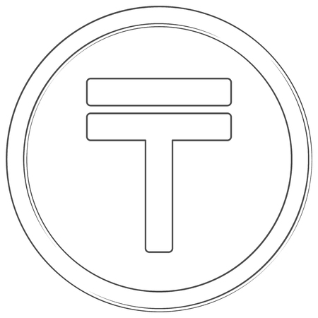 Vector tenge sign. Lineart icon. Thin line illustration on white background