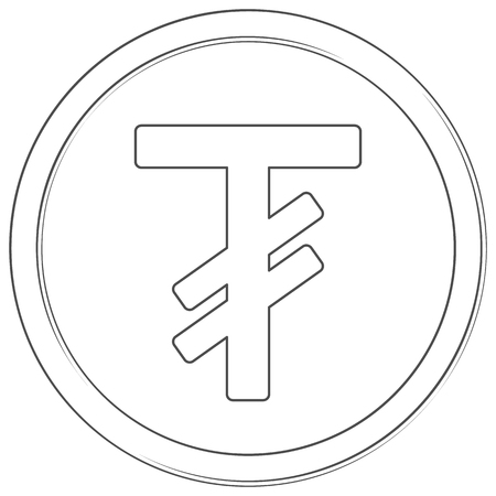 Vector tugrik sign. Line art icon. Thin line illustration on white background.